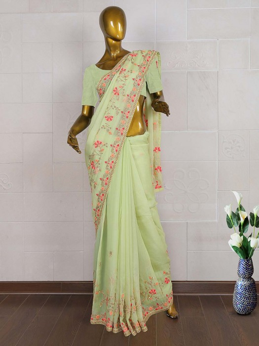 Parrot Green Silk Fabric Saree