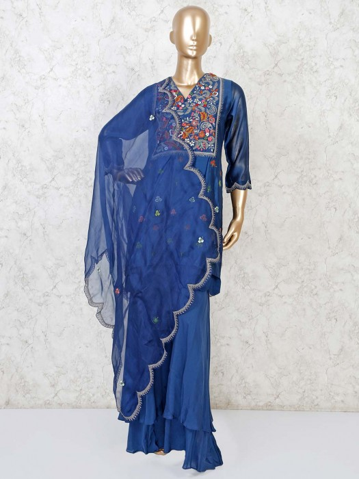 Party Function Blue Punjabi Palazzo Suit In Cotton  Silk