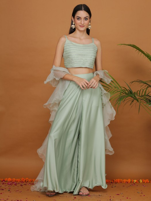 Party Function Pista Green Zari Work Crop Top Palazzo Suit