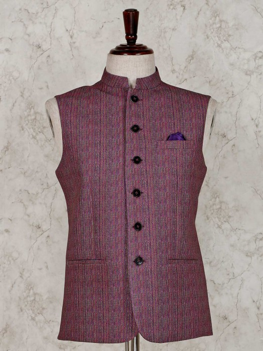 Party Function Purple Solid Waistcoat