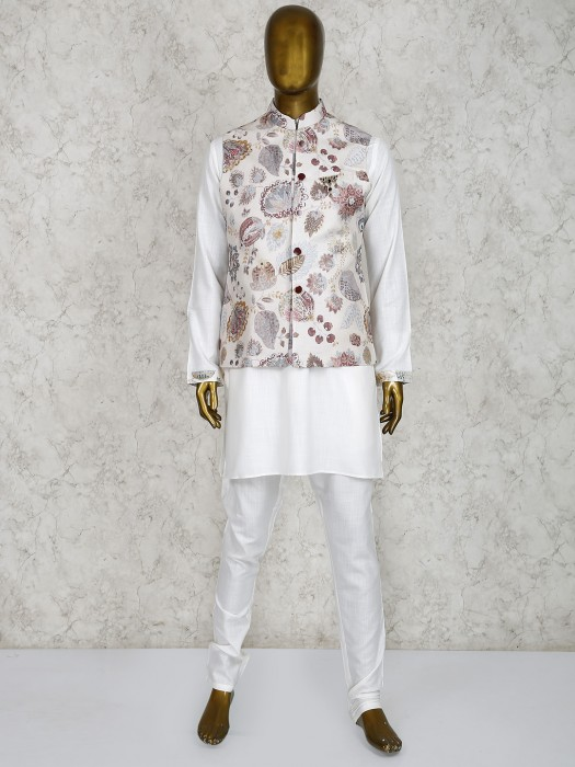 Party Function White Color Printed Waistcoat Set