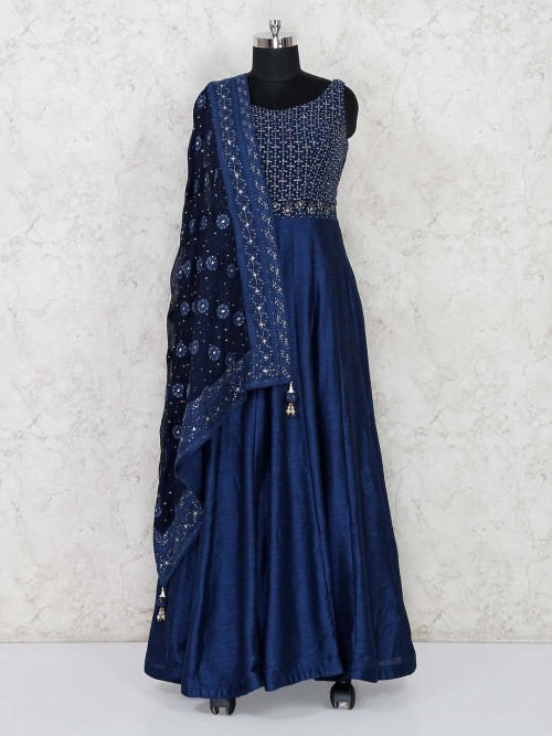 Party Navy Floor Length Anarkali Suit