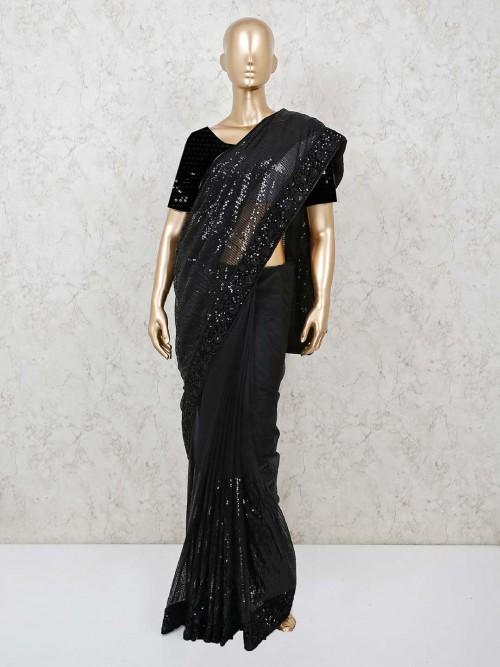 Party Wear Black Net Sequins Work Saree