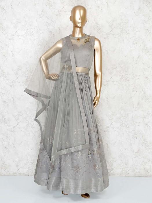 Party Wear Grey Designer Anarkali Suit In Georgette