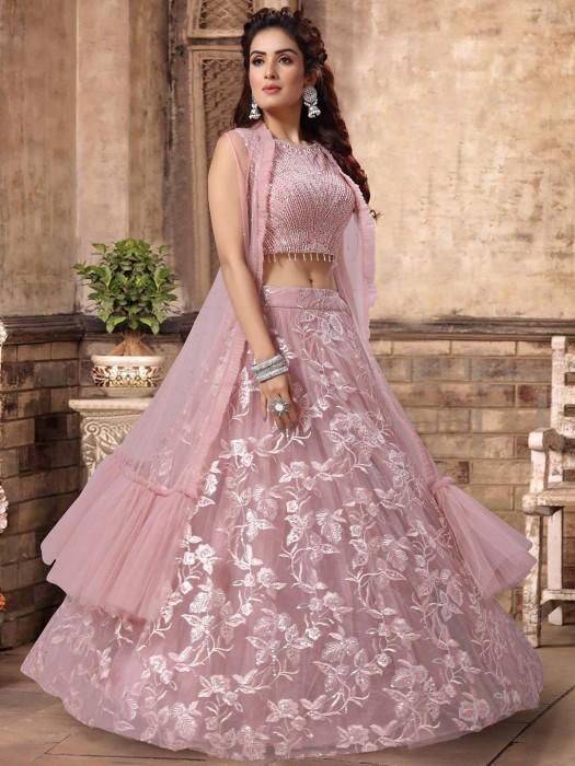 Party Wear Pink Net Lehenga Choli
