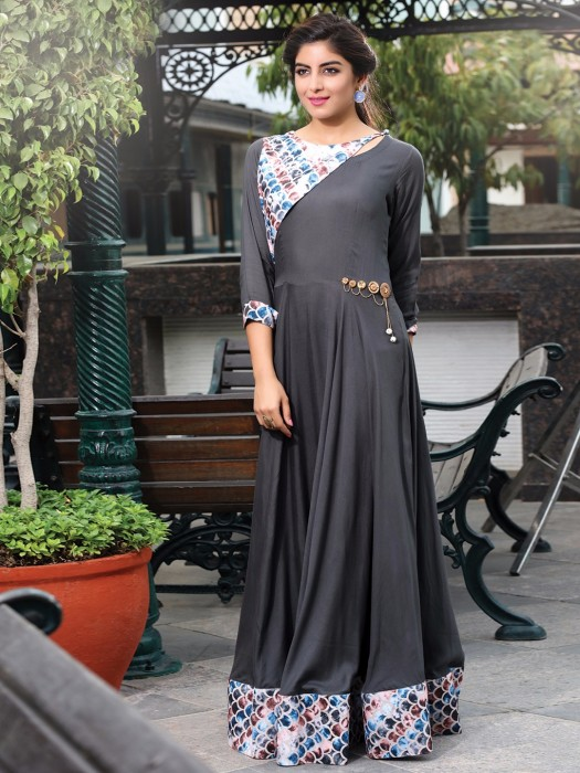 Party Wear Plain Grey Cotton Kurti