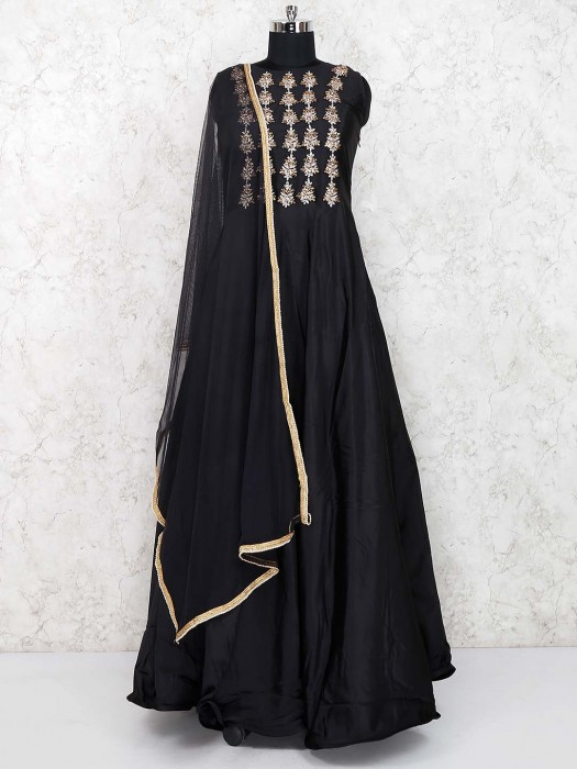 Party Wear Satin Round Floor Length Gown