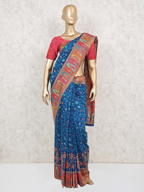 Pashmina Silk Saree In Navy For Wedding