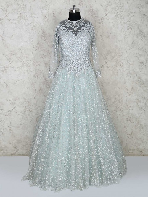 Pastel Green Colored Floor Length Gown For Wedding