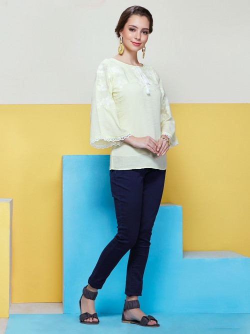 Pastel Yellow Dressy Top With Flared Sleeves