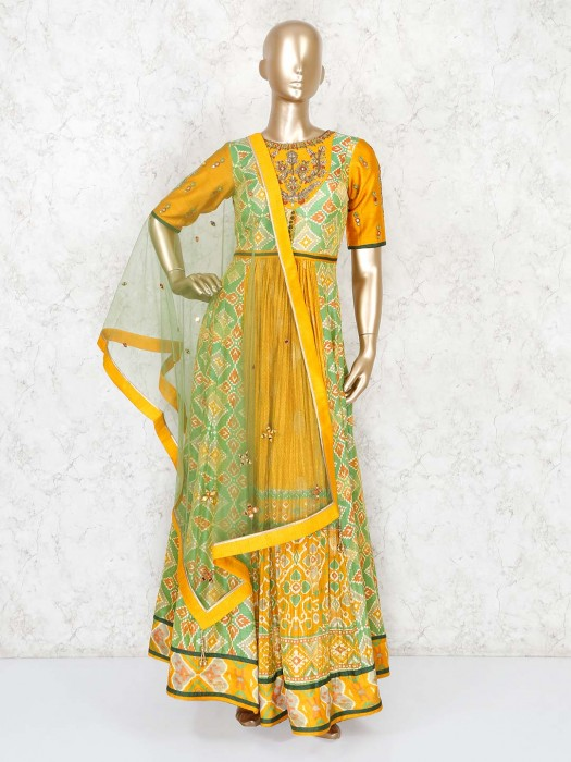 Patola Silk Mustard Yellow Floor Length Anarkali Suit