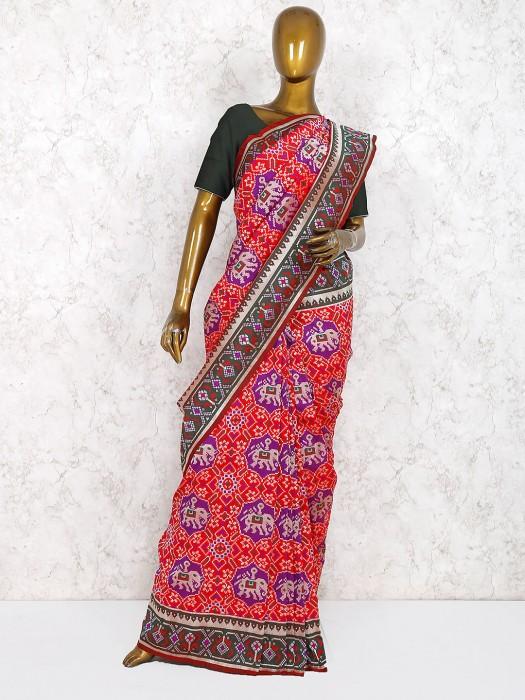 Patola Silk Red Hue Wedding Wear Saree
