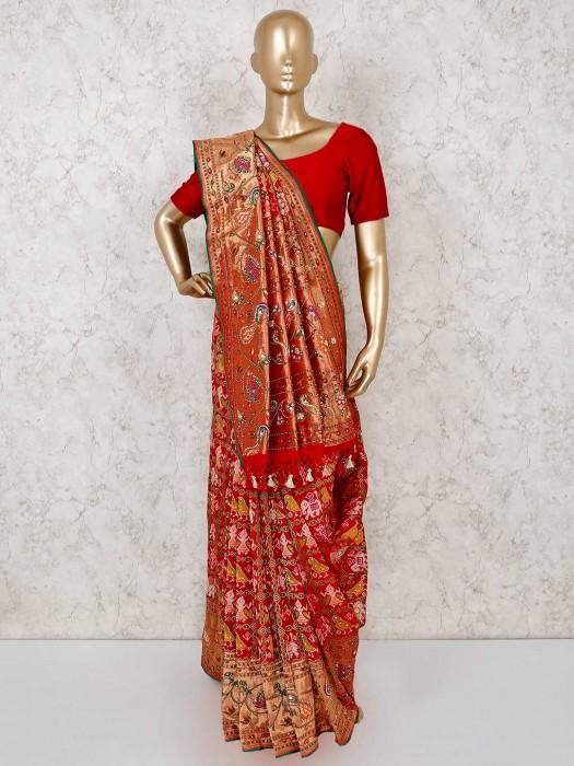 Patola Silk Red Wedding Wear Saree