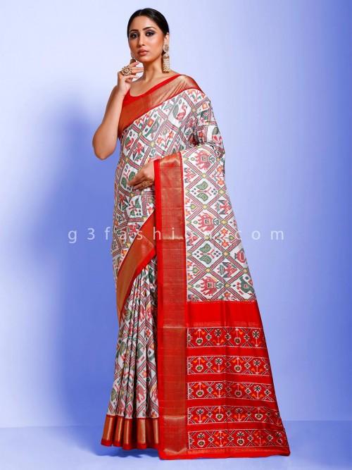 Patola Silk White Wedding Function Saree