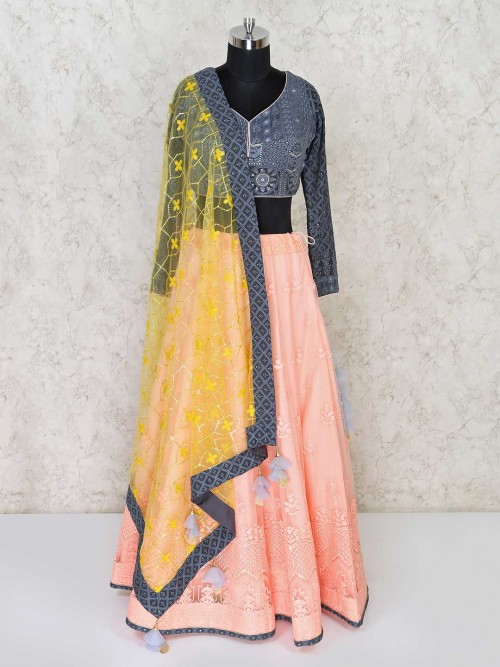 Peach And Grey Full Sleeves Lehenga Choli In Net