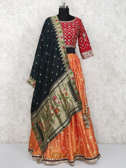 Peach And Red Cotton Silk Round Neck Lehenga Choli