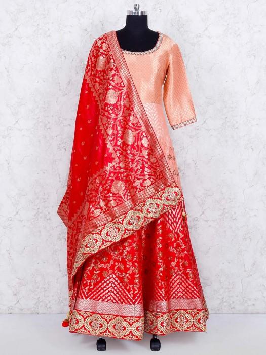 Peach And Red Shaded Banarasi Silk Anarkali Suit