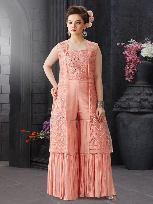 Peach Color Designer Georgette Fabric Sharara Suit