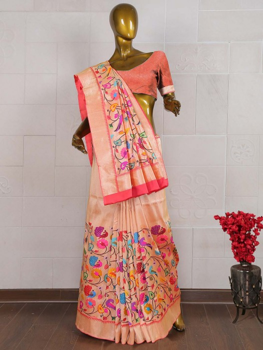 Peach Color Pure Banarasi Silk Wedding Saree