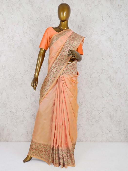 Peach Color Semi Silk Wedding Saree