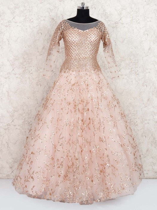 Peach Colored Wedding Wear Net Gown