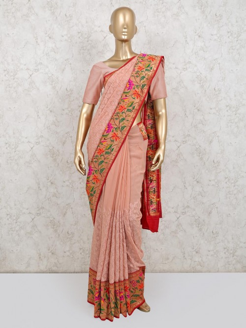 Peach Colour Georgette Wedding Saree