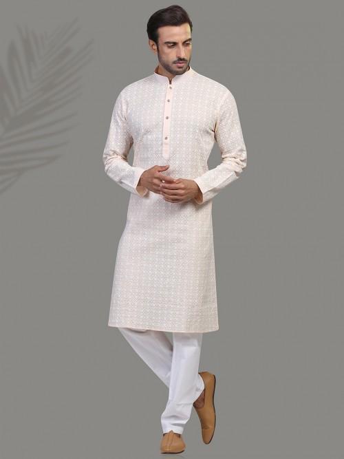 Peach Cotton Chicken Kurta Suit In Cotton