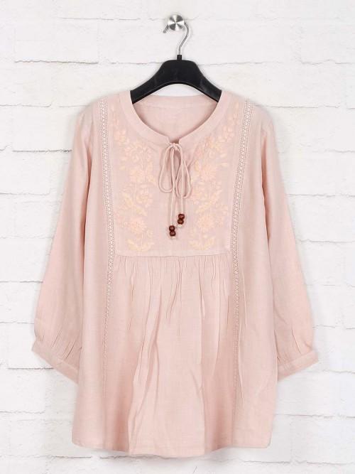 Peach Cotton Full Sleeve Casual Top