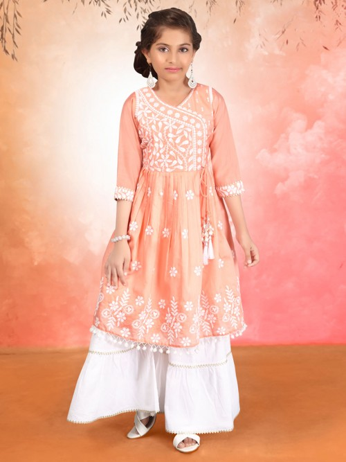 Peach Cotton Silk Festive Wear Girls Sharara Suit