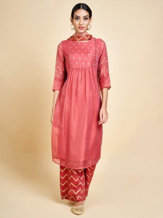 Peach Cotton Silk Latest Punjabi Palazzo Suit