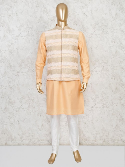 Peach Cotton Silk Waistcoat Set For Party Wear