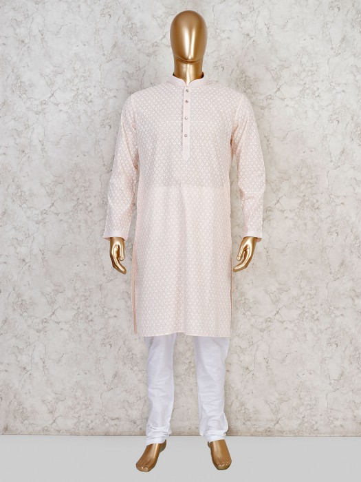 Peach Cotton Stand Collar Kurta Suit