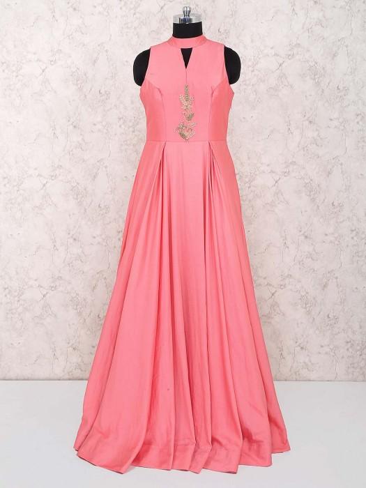 Peach Designer Cap Style Gown