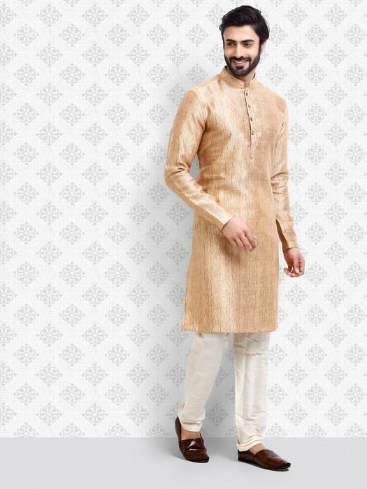 Peach Designer Textured Pattern Kurta Suit