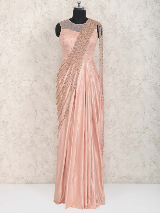 Peach Designer Wedding Function Gown