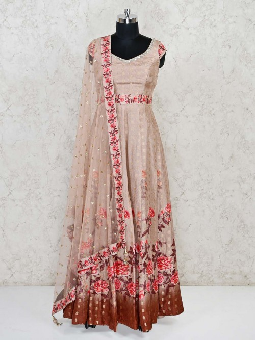 Peach Floor Lenght Cotton Silk Anarkali Suit For Wedding