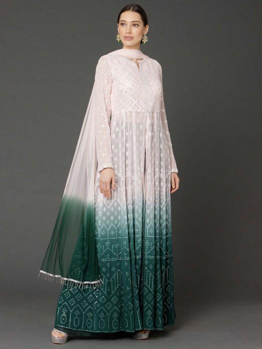 Peach Green Georgette Anarkali Lehenga Suit In Wedding