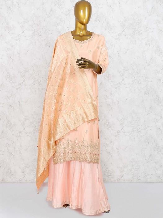 Peach Hue Cotton Silk Lovely Sharara Suit