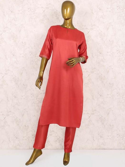 Peach Hue Cotton Silk Punjabi Suit