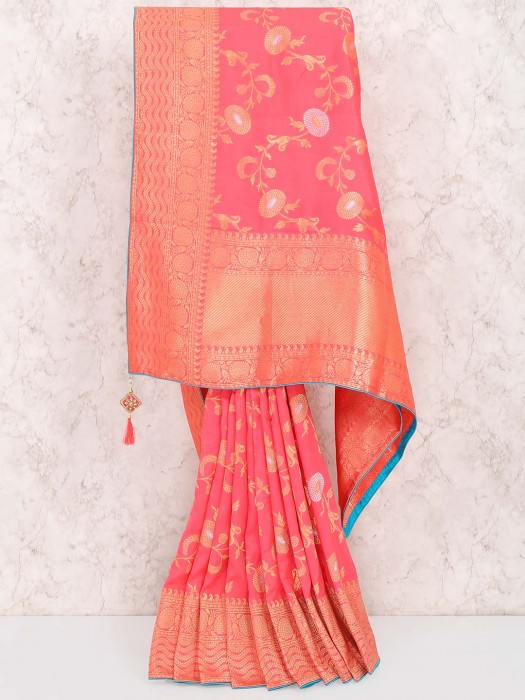 Peach Hue Muga Silk Fabric Saree