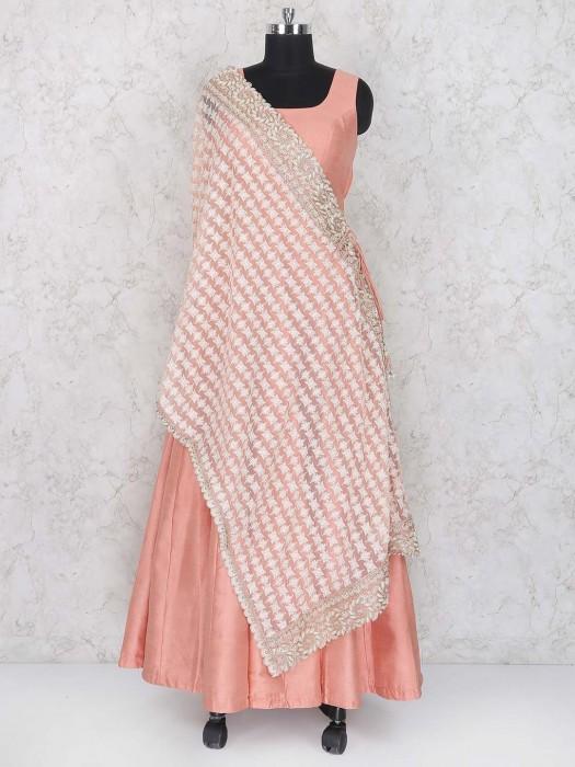 Peach Hued Wedding Function Anarkali Suit