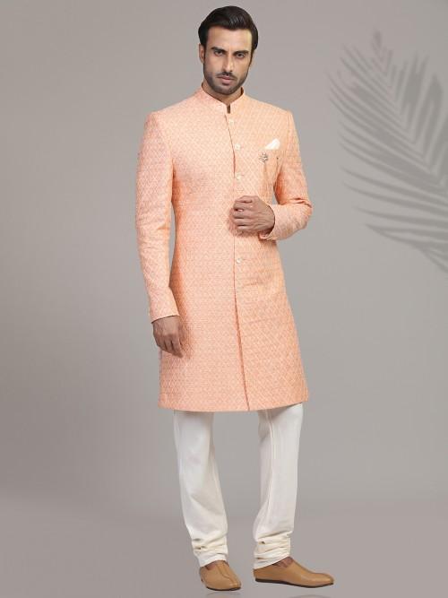 Peach Linen Chikankari Mens Indo Western