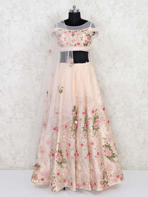 Peach Net Wedding Wear Designer Lehenga Choli