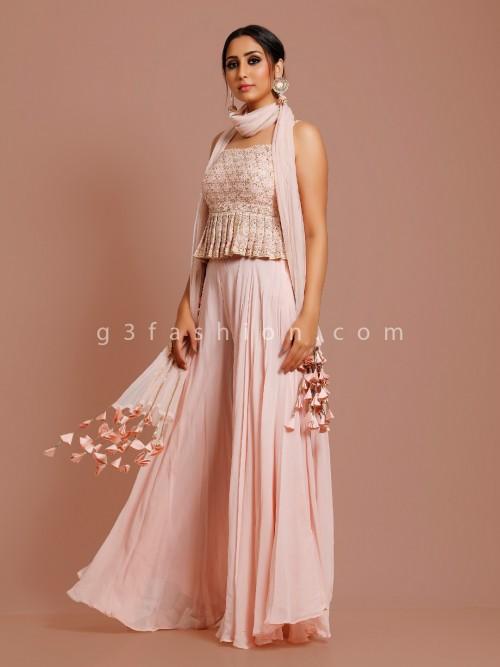 Peach Peplum Sharara Suit In Georgette