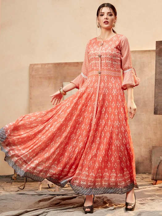 Peach Printed Cotton Silk Kurti For Pretty Womens