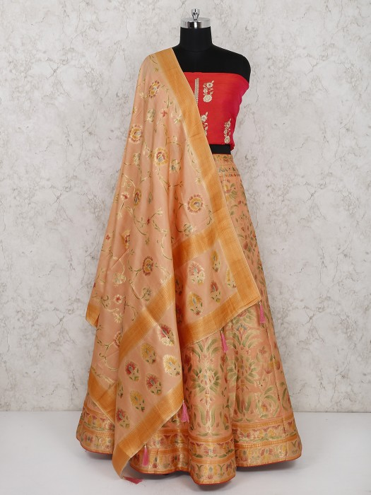 Peach Semi Stitched Lehenga Choli In Silk