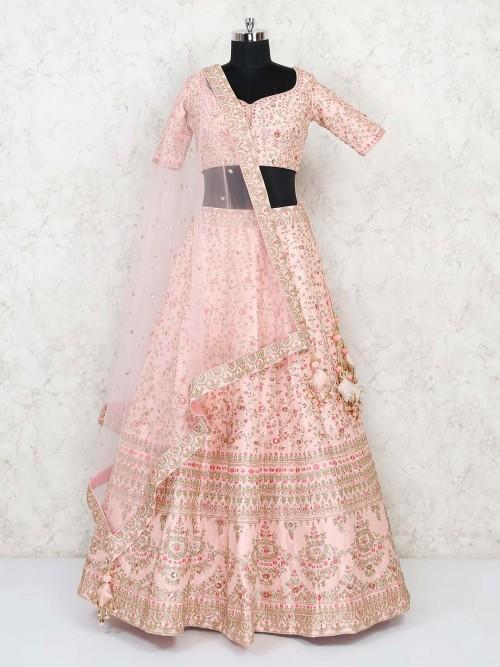 Peach Silk Designer Premium Lehenga Choli