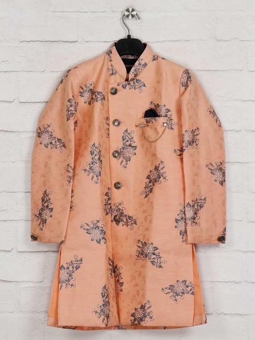 Peach Silk Wedding Kurta Suit