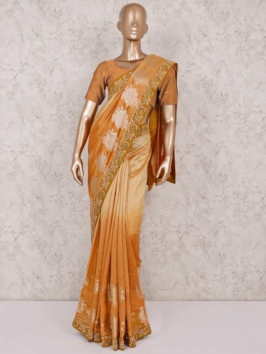 Peach Silk Wedding Wear Saree
