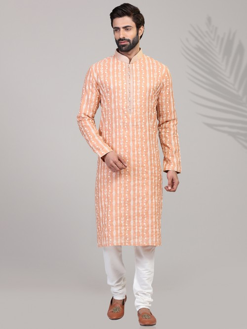 Peach Stand Collar Chikan Work Cotton Kurta Suit